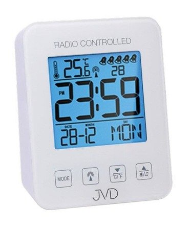 Budzik JVD RB38.1 Termometr, 5 alarmów, DCF77