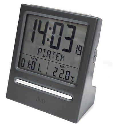Budzik JVD RB9299.2 dni tygodnia PL Termometr DCF77 Dwa Alarmy