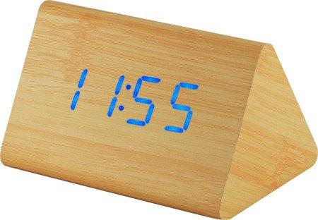 Budzik MPM C02.3569.51 blue led, termometr, 3 alarmy