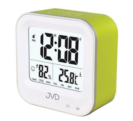 Budzik akumulatorowy JVD SB9909.1 z termometrem i higrometrem