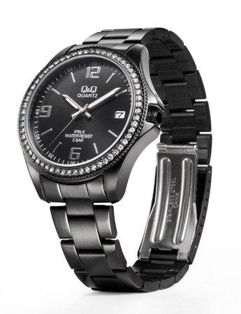 Zegarek Q&Q CA06-803 Cyrkonie Biżuteryjny Datownik